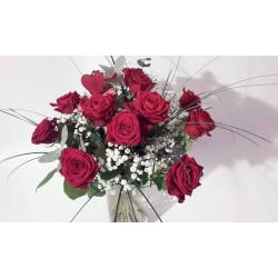 12 rote Rosen mit Herz und...