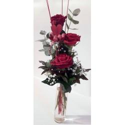 3 rote Rosen mit Herz und...